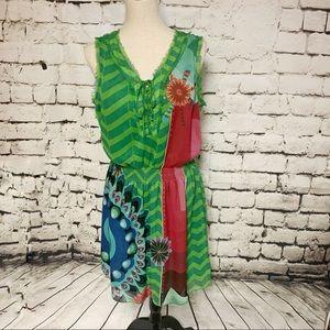 Desigual Sleeveless Green Fringe Print Dress, XL